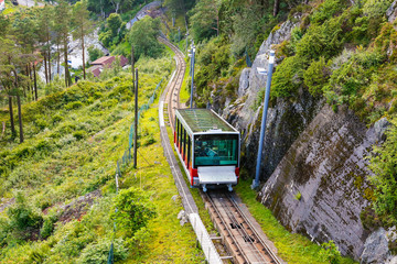 Carriage of the Funicular Railway in Bergen, Norway, climbing Mo