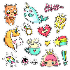 Colorful vector patch badges with animals, characters and things. Hand-drawn stickers, pins in cartoon 80s-90s comics style. Set with cute unicorn, narwhal, squirrel, princess, magic wand, etc.