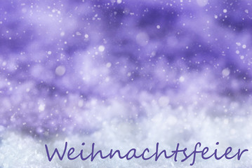 Purple Background, Snow, Snowflakes, Weihnachtsfeier Means Christmas Party