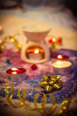gold ribbon and candles