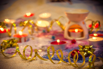 ribbon and bow with red candles