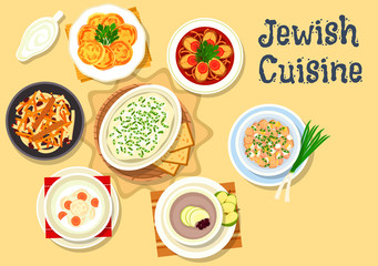 Jewish cuisine dishes icon for kosher menu design