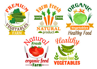 Natural vegetables cartoon badges set