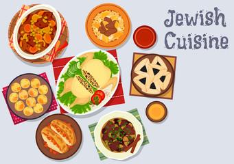 Jewish cuisine kosher dinner icon for menu design