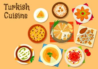 Turkish cuisine national dishes for menu design