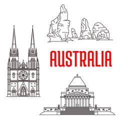 Australian travel landmarks linear icon
