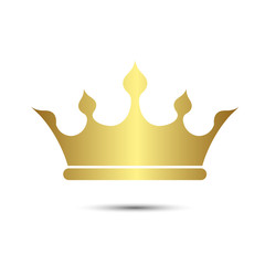 Crown symbol with Gold Color isolate on white background, vector
