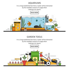 Aquarium and garden tools banners in flat style. Vector design elements, icons.