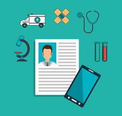 doctor curriculum vitae with smartphone and medical icon set over blue background. colorful design. vector illustration