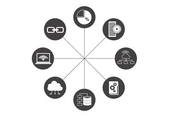 Circular Data Center Media Icon Set