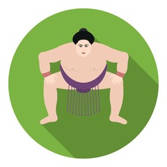 Sumo wrestler icon in flat style isolated on white background. Japan symbol stock vector illustration.