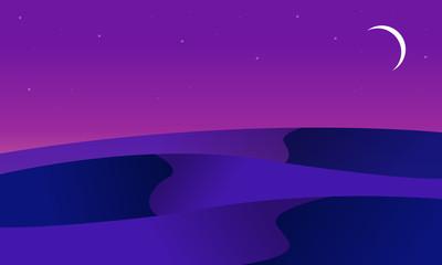 Canvas Prints Violet At night desert landscape of silhouette