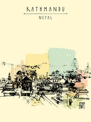 Pashupatinath Hindu temple, Kathmandu, Nepal. Travel sketch on Nepalese paper. Artistic hand drawing of a sacred place. Above city view. Hand drawn touristic postcard, poster. Calendar illustration