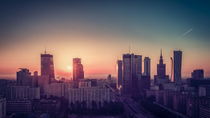 Sunrise above Warsaw Downtown Skyline, Poland