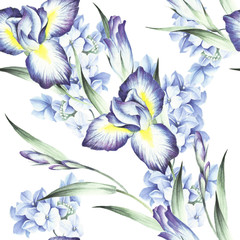 Seamless pattern with iris and hydrangea. Watercolor illustration