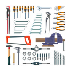 Vector set of working tools in flat style. Design elements and icons isolated on white background. Construction home repair. Tap holder, threading die
