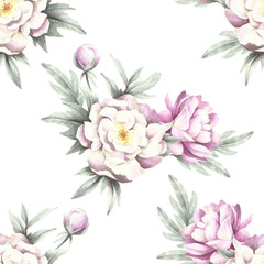 Seamless pattern with peonies. Hand draw watercolor illustration