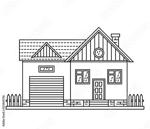 House Cottage Line Drawing Icon Stock Image And Royalty Free Vector Files On Fotolia