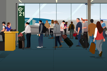 Plane Passengers Boarding the Plane on the Departure Gate