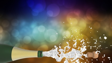 Celebration theme with splashing champagne, on colorful bokeh background. 3d illustration