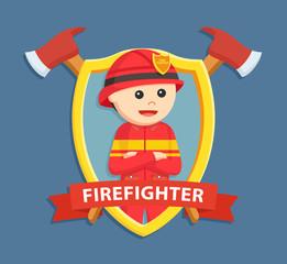 firefighter in emblem vector illustration design
