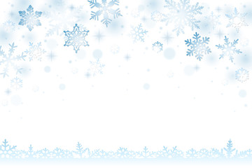 Winter background with falling snowflakes and snow