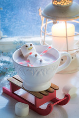 Happy marshmallows snowman for Christmas