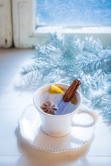 Aromatic and sweet tea with orange for Christmas