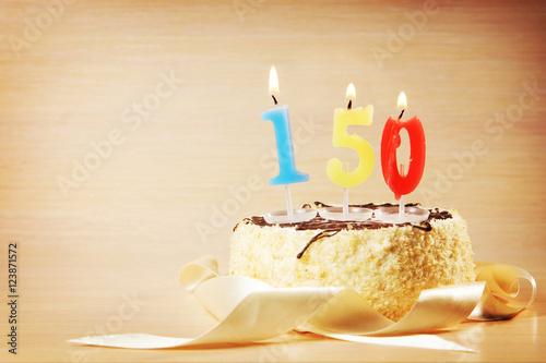 Birthday Cake With Burning Candle As A Number Twenty Focus On The Stockfotos Und Lizenzfreie Bilder Auf Fotolia