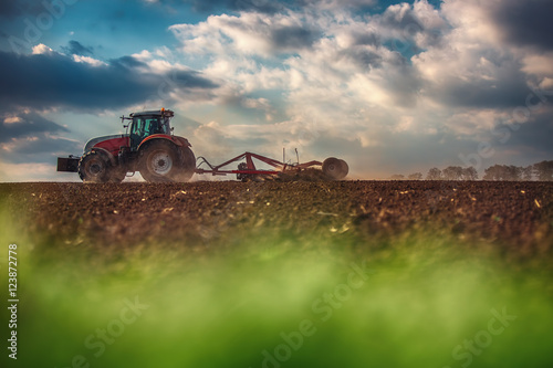 Wall mural Farmer in tractor preparing land with seedbed cultivator