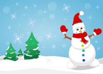 Christmas background with snowman.Vector.