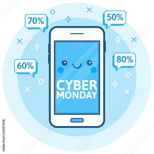 cyber monday sale background cute happy smartphone icon with speech