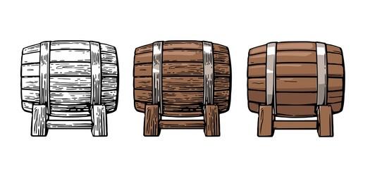 Wooden barrel. Color vintage engraving and flat vector illustration.