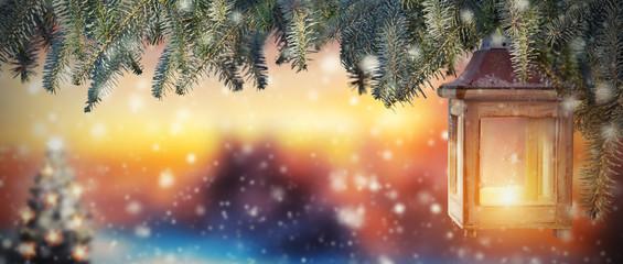 Christmas lantern in sunset light