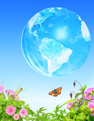 Summer grass, flowers insect and Earth on blue sky background