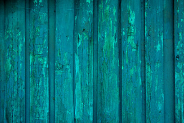 Blue painted wood planks as background or texture. Close-up