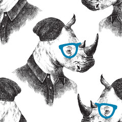 Fototapete - Seamless pattern with dressed up rhino