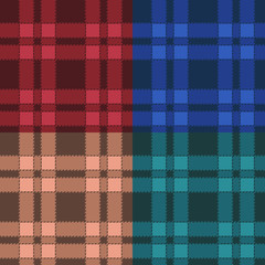 Set of seamless patterns with plaid.