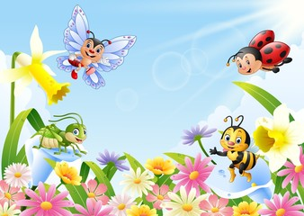 Cartoon insects on flower field