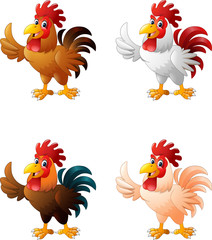 Cartoon funny rooster giving thumb up collection set