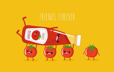 Fototapeta Funny tomato ketchup and tomato. Vector illustration. obraz