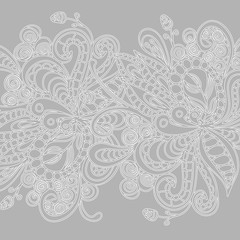 Beautiful abstract lace ornament, white hand drawn fanciful doodle on grey background. Vector illustration.
