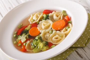 Hot tortellini soup with broccoli, peas, carrot and pepper close-up. Horizontal