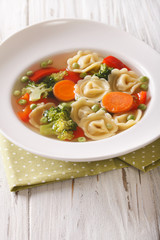 Hot tortellini soup with broccoli, peas, carrot and pepper close-up. vertical