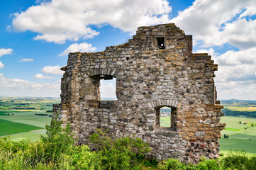 ruins of ancient robber knight castle desenberg at warburg, germany