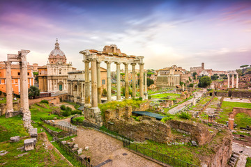 Printed roller blinds Central Europe sundown at roman forum in rome, italy