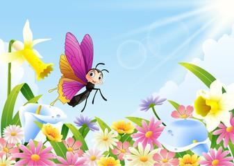 Cute butterfly flying on flower field