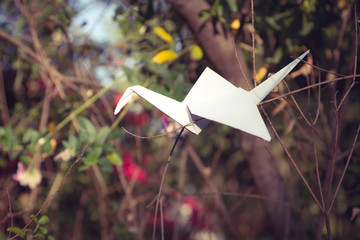 Origami crane in nature setting