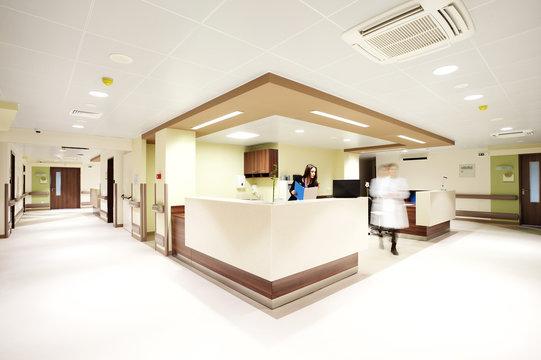 hospital reception corridor
