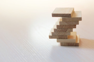 Balance concept with wooden planks